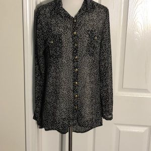 Cotton On Black Chiffon Blouse w/ White Stars